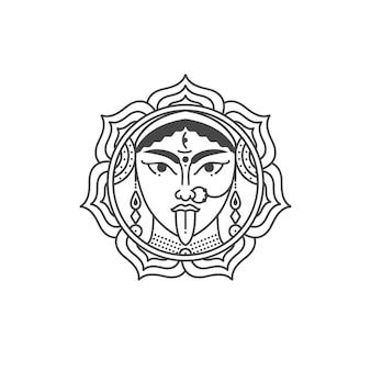女神ドゥルガーのイラスト。インドの文化と反逆の象徴。