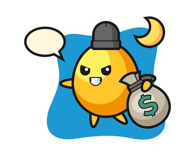 Иллюстрация золотое яйцо мультфильма украденные деньги, милый дизайн стиля