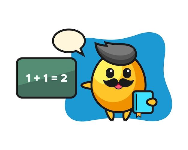 Иллюстрация персонажа золотого яйца в качестве учителя, милый дизайн стиля
