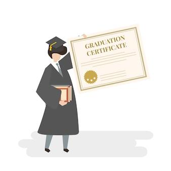 Illustration of graduation certificate