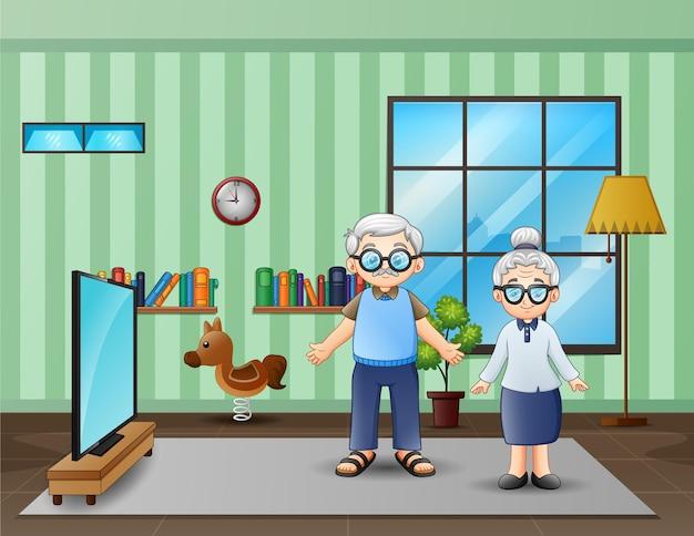 リビングルームに立っている祖父母のイラスト