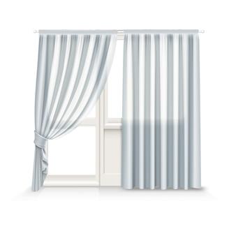 灰色のカーテンのイラストは、白い背景の上の窓とバルコニーのドアに掛かっています
