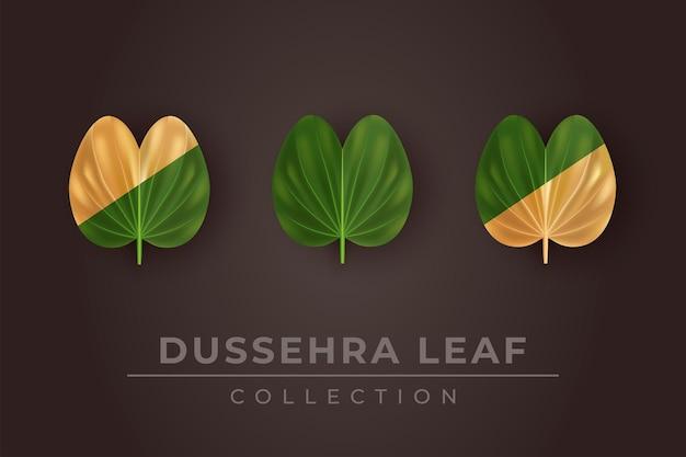 Иллюстрация коллекции листьев green и golddussehra для счастливого фестиваля dussehra