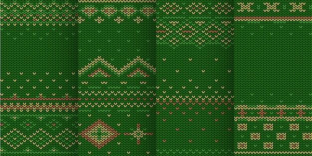녹색 겨울 테마의 그림 니트 원활한 패턴 세트