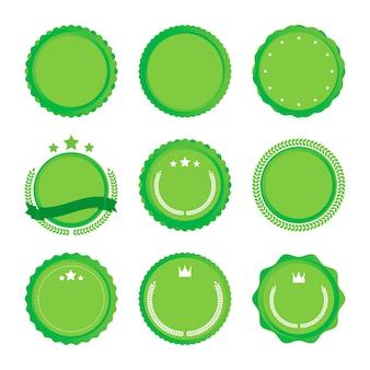 さまざまなリボンと緑の色のついた丸エンブレムのイラスト。