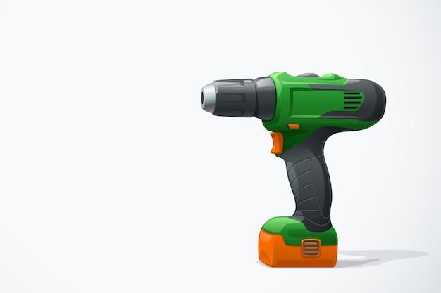 Иллюстрация зеленой аккумуляторной отвертки с тенью