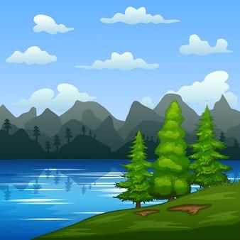 川沿いの緑の風景のイラスト
