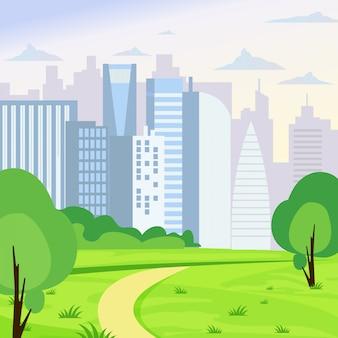 Иллюстрация зеленого парка пейзаж на фоне большого бизнеса города в плоском мультяшном стиле.