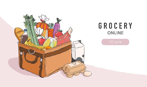 食料品のイラストは、配達用バッグに完全に詰め込まれています。オンライン食料品の注文と配達サービスのバナーテンプレート。