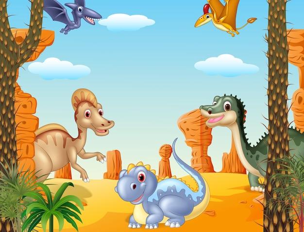 선사 시대 배경에서 그룹 공룡의 그림
