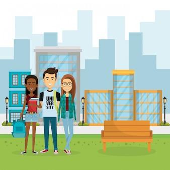 Иллюстрация группы людей в парке Бесплатные векторы
