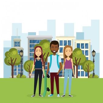 Иллюстрация группы людей в парке