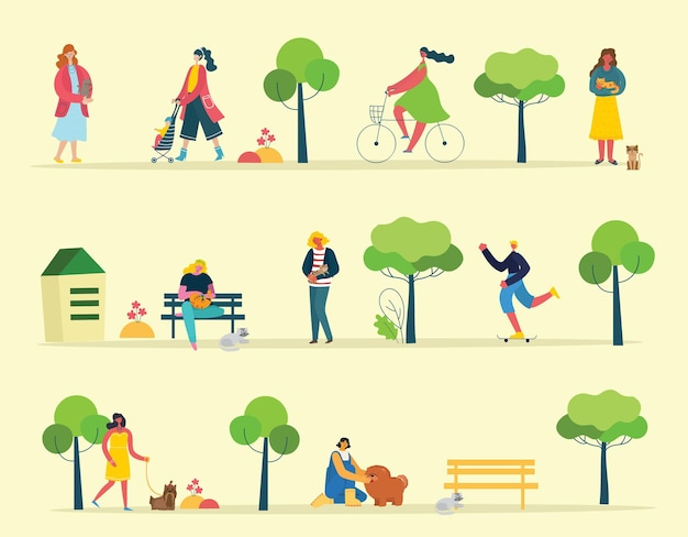 평면 스타일로 공원에서 산책하는 사람들의 그룹의 그림