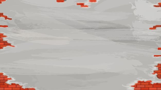 ひび割れしっくいの質感とグランジ赤い色のレンガの壁のイラスト