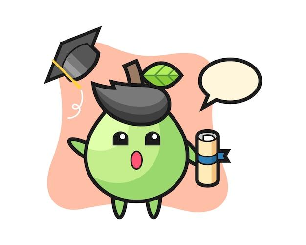 卒業式、tシャツ、ステッカー、ロゴの要素のかわいいスタイルデザインで帽子を投げるグアバ漫画のイラスト