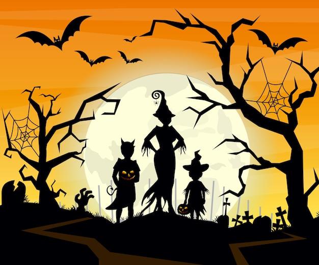 ハロウィーンの衣装の子供のトリックのシルエットとハロウィン背景のイラスト。ハロウィーンのはがき。