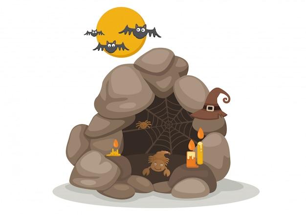 Иллюстрация хэллоуин пещерного вектора