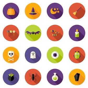 Иллюстрация набора иконок красочные плоский круг хэллоуин