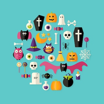Иллюстрация плоский набор иконок хэллоуин над синим