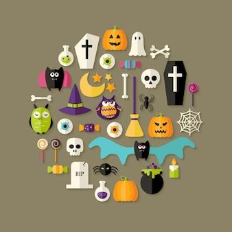 Иллюстрация плоский набор иконок хэллоуин над темно-коричневый