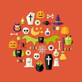 Иллюстрация плоский набор иконок хэллоуин над красным