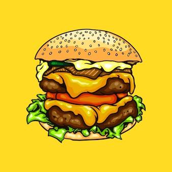 ハンバーガー料理のイラスト
