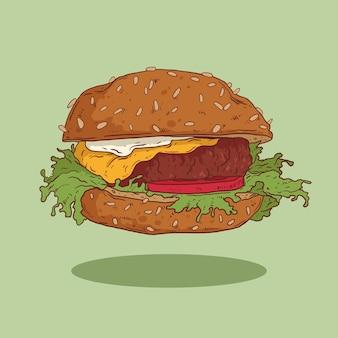 길거리 음식 기호 또는 메뉴 디자인을 위한 햄버거 그림