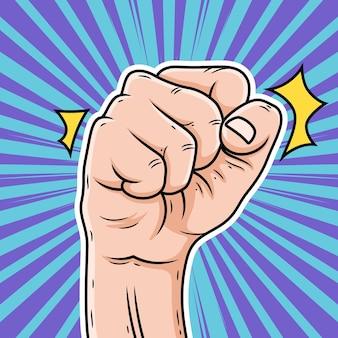 手で握り締められた漫画のイラスト。ポップアートイラスト