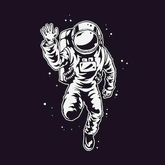 手のイラストを描く宇宙飛行士のキャラクターデザイン