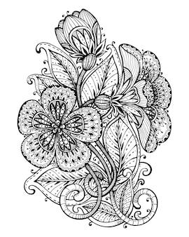 手のイラストは、派手な花の枝と葉を描画します。タトゥー、印刷、塗り絵の黒と白のグラフィック。白い背景の上。
