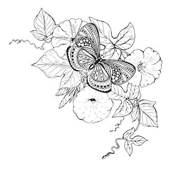 Иллюстрация рисованной графической бабочки на ветке цветка вьюнка. черно-белая иллюстрация