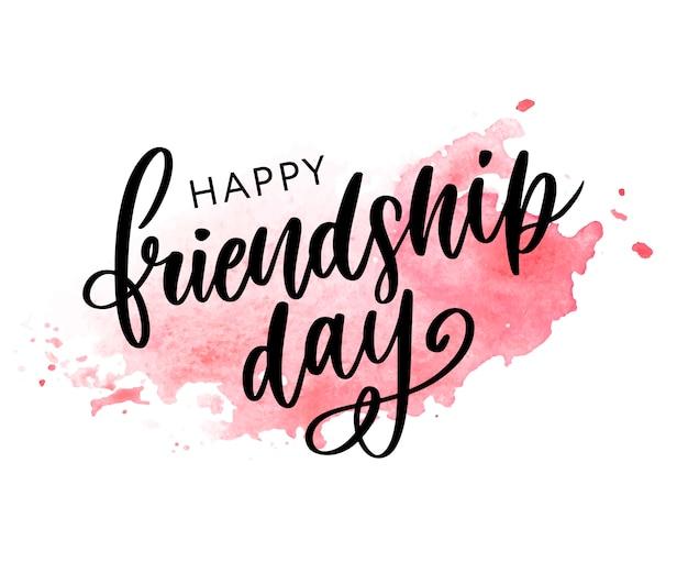 Иллюстрация рисованной счастливой дружбы день поздравления в стиле моды с буквами текста знак и цветовой треугольник для гранж эффект, изолированных на белом фоне
