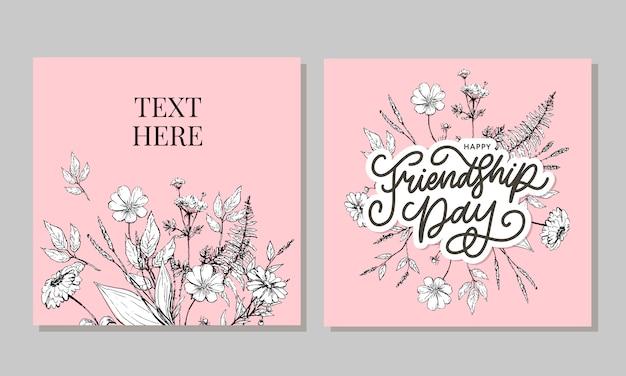 白い背景に分離されたグランジ効果のテキスト記号と色の三角形をレタリングとファッションスタイルで手の描かれた幸せな友情日の貞女のイラスト
