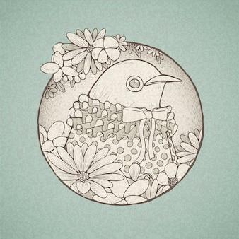 Иллюстрация рисованной милой птицы в стиле ретро