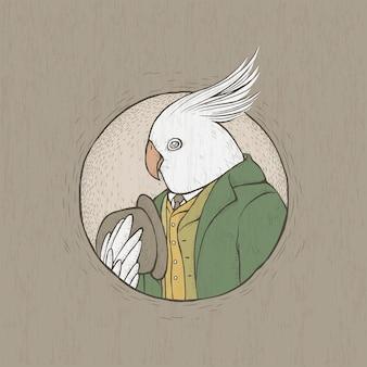 손으로 그린 복고 스타일 신사 앵무새의 그림