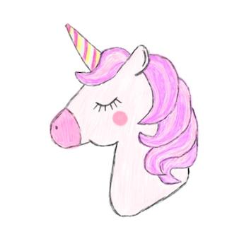 Illustration of hand drawn unicorn icon