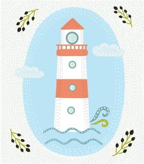 Иллюстрация рисованной старинные этикетки с маяком и буквами.