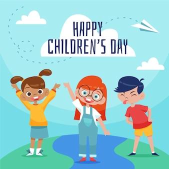 Иллюстрация рисованной всемирного дня защиты детей