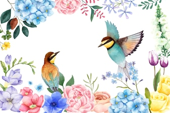 Illustration of hand painted flowers and birds