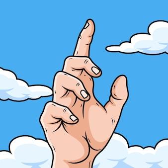 하늘을 가리키는 손의 그림입니다. 희망 아이콘 그림의 상징