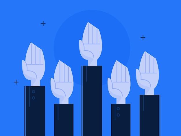 Иллюстрация руки, поднятой вверх. бизнес-концепция