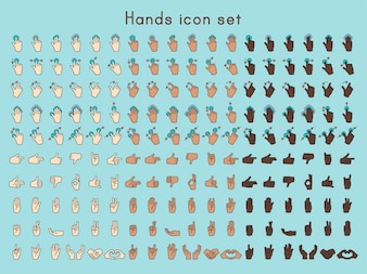 Illustration of hands gesture set in thin line