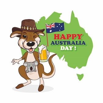 Иллюстрация счастливого дня австралии с коалой и кенгуру