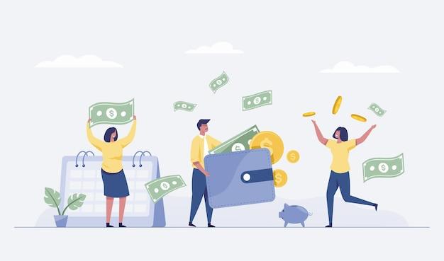 행복한 비즈니스 팀의 삽화는 돈을 들고 성공을 기념합니다. 벡터 일러스트 레이 션