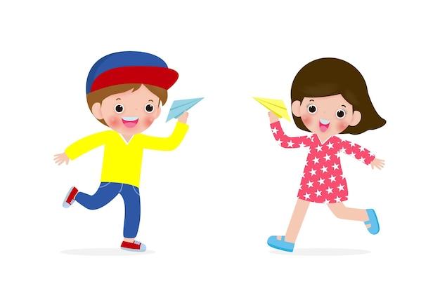 Иллюстрация счастливых детей, мальчик и девочка, играющие с бумажным самолетиком