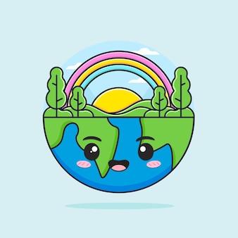 행복 한 귀여운 어머니 지구 그림