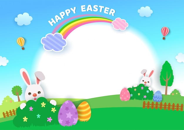 Иллюстрация дизайна фестиваля счастливой пасхи с кроликами и яйцами на природе backgroud