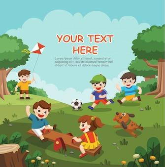 놀이터에서 함께 재미 행복 흥분된 아이의 그림. 아이들은 밖에서 놀아요.
