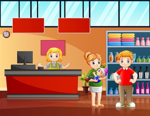 Иллюстрация счастливой семьи, делающей покупки в супермаркете
