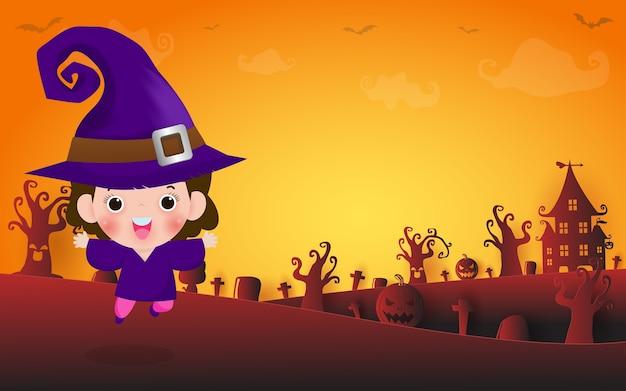 해피 할로윈, 귀여운 작은 마녀의 그림